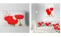 "Design Art Designart Bright Red Tulip Flowers With Splashes Floral Throw Pillow - 12"" X 20"""