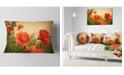 "Design Art Designart Colorful Red Poppy Flower Field Flower Throw Pillow - 12"" X 20"""
