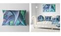 "Design Art Designart Blue Fractal Exotic Plant Stems Abstract Throw Pillow - 12"" X 20"""