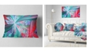 "Design Art Designart Red Blue Fractal Exotic Plant Stems Abstract Throw Pillow - 12"" X 20"""