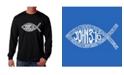 LA Pop Art Men's Word Art Long Sleeve T-Shirt - John 3:16 Fish Symbol