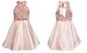 Sequin Hearts Big Girls Sequin Trim Satin Dress