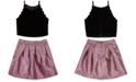 BCX Big Girls 2-Pc. Velvet Top & Metallic Skirt Set