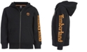 Timberland Big Boys Hayes Black Full-Zip Fleece Logo Hoodie