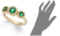 EFFY Collection Brasilica by EFFY® Emerald (5/8 ct. t.w.) and Diamond (1/6 ct. t.w.) Three-Stone Ring in 14k Gold, Created for Macy's