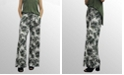 COIN 1804 Womens Leaf Print Wide Leg Pocket Pants