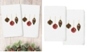 Linum Home Christmas Ornaments Embroidered 100% Turkish Cotton 2-Pc. Hand Towel Set