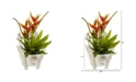 """Nearly Natural 16"""" Heliconia and Birds Nest Fern Artificial Plant in Chair Planter"""