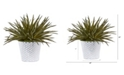 """Nearly Natural 13"""" Aloe Artificial Plant in White Embossed Planter"""