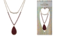"lonna & lilly Gold-Tone Burgundy Bead & Stone Two-Row 32"" Long Necklace, Created for Macy's"