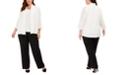Kasper Plus Size Sequined Cardigan, Sequined Top & Trouser Pants