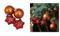 Northlight 4ct Shiny Red Stars and Amber Orange Ball Design Glass Christmas Ornament Set