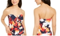 DKNY Printed Tie-Front Strapless Tankini Top