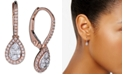 Macy's Diamond Halo Teardrop Dangle Drop Earrings (3/8 ct. t.w.) in 14k Rose Gold