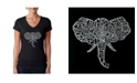 LA Pop Art Women's Word Art V-Neck T-Shirt - Tusks