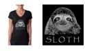 LA Pop Art Women's Word Art V-Neck T-Shirt - Sloth