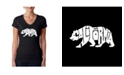 LA Pop Art Women's Word Art V-Neck T-Shirt - California Bear
