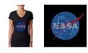 LA Pop Art Women's Word Art V-Neck T-Shirt - NASA's Most Notable Missions