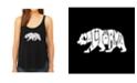LA Pop Art Women's Premium Word Art Flowy Tank Top- California Bear