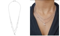 """Wrapped Diamond Moon & Stars 20"""" Layered Necklace (1/5 ct. t.w.) in 14k White Gold, Created For Macy's"""
