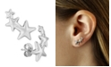 Macy's Triple Star Stud Crawler Earrings Set in 14k  White Gold