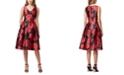 Tahari ASL Sleeveless Floral Jacquard A-Line Dress
