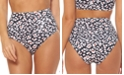 Jessica Simpson Cool Cat Printed High-Waist Bikini Bottoms