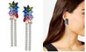 GUESS Gold-Tone Crystal Flower Chain Fringe Linear Earrings