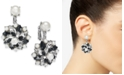 Charter Club Silver-Tone Crystal, Stone & Imitation Pearl Cluster Clip-On Stud Drop Earrings, Created for Macy's