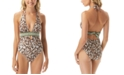 Vince Camuto Cat-Print Plunging Halter One-Piece Swimsuit