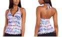 Profile by Gottex Tricolore Printed Halter Tummy-Control Tankini Top, Created For Macy's