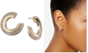 DKNY Gold-Tone Small Pavé Front-and-Back Hoop Earrings, Created For Macy's, 0.55""