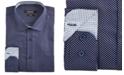 Nine West Men's Slim-Fit Wrinkle-Free Performance Stretch Navy & White Dots Print Dress Shirt