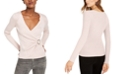 INC International Concepts INC Petite Metallic-Knit Faux-Wrap Sweater, Created For Macy's
