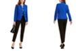 Kasper Stand Collar Blazer, Printed Shell Blouse & Button-Detail Pants
