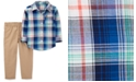 Carter's Toddler Boys 2-Pc. Cotton Plaid Shirt & Canvas Pants Set