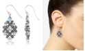 Macy's Marcasite and Blue Topaz (6 ct. t.w.)  Drop Wire Earrings in Sterling Silver