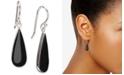 Macy's Onyx (20 x 8mm) Elongated Teardrop Drop Earrings in Sterling Silver