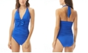 Carmen Marc Valvo Ruched Bow-Front Halter Tankini Top & Shirred Bottoms