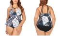 Raisins Curve Trendy Plus Size Juniors' Las Brisas Printed Rosalie Poolside Underwire Tankini Top & High-Waist Bikini Bottoms