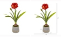 Nearly Natural 32in. Amaryllis Artificial Plant in Planter with Gold Trimming