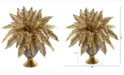 Nearly Natural 16in. Golden Boston Fern Artificial Plant in Stoneware Urn with Gold Trimming