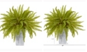 Nearly Natural 14in. Fern Artificial Plant in Embossed White Planter
