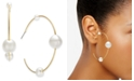 "INC International Concepts INC Gold-Tone Large Imitation Pearl Thin Hoop Earrings, 2.5"", Created For Macy's"