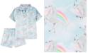 Carter's Little & Big Girls 2-Pc. Rainbow-Print Coat-Style Satin Pajamas Set
