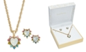 Charter Club Gold-Tone 2-Pc. Set Stone & Rainbow Crystal Heart Pendant Necklace & Matching Stud Earrings, Created For Macy's