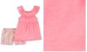 Carter's Toddler Girls 2-Pc. Ruffle Top & Striped Shorts Set