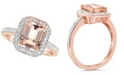 Macy's Morganite (2 ct. t.w.) and Diamond (1/4 ct. t.w.) Ring in 14K Rose Gold-Plated Sterling Silver