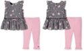 Calvin Klein Baby Girls 2-Pc. Floral Peplum Top & Leggings Set