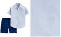 Carter's Baby Boys 2-Pc. Flamingo Cotton Shirt & Shorts Set